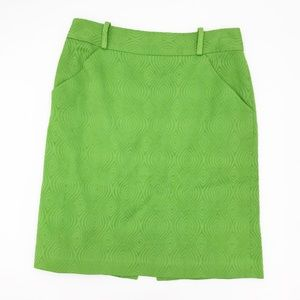 Milly New York Vintage Textured Green Pencil Skirt